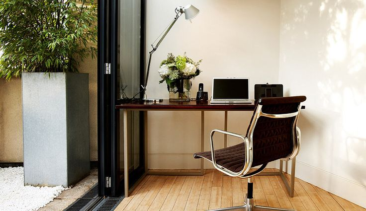 Work space in the stylish terrace suite at No.5 Maddox Street, in the heart of London's Mayfair.