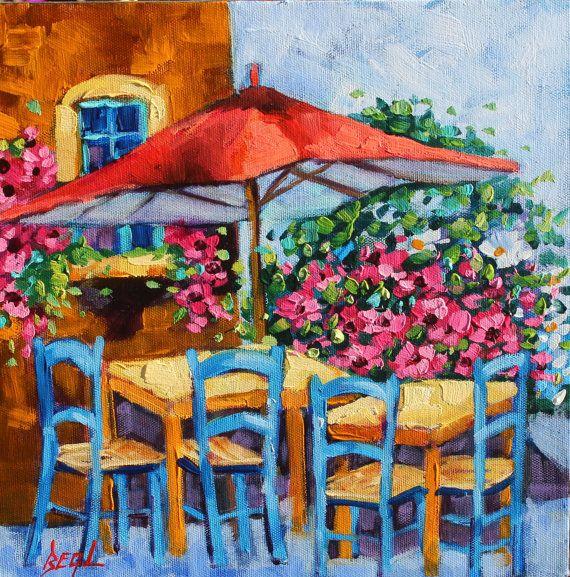 Art Oil Painting Original Cafe Flower Art Sunny Cafe by rbealart