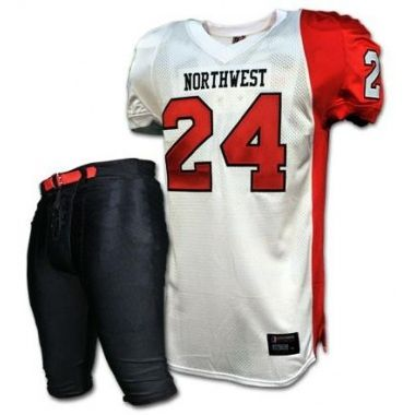 American Football Uniforms:- SKU: SSW-12708 Made of 100% Polyester. Double layer dazzle on the shoulder 250 GSM mesh body spandex side panel ,Pants in heavy wight spandex. Email: info@saithsports.com Web: www.saithsports.com