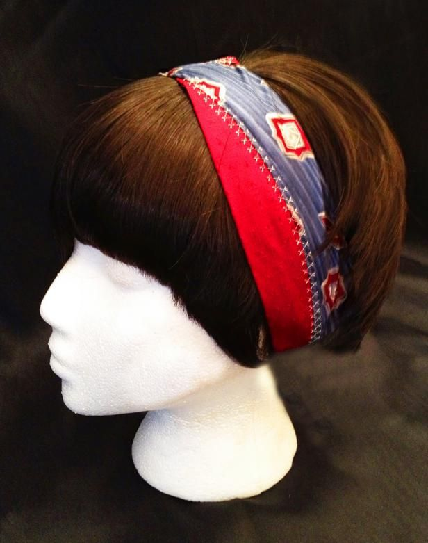 12 Ways to Upcycle Old Neckties: Upcycle your updo: This chic headband was crafted from two old neckties by Danielle Thomas, whose recycled necktie creations can be found at All Tied Out on Etsy.com. Take about 15 inches from the narrow end of two neckties, lay the pieces side by side (crossing them halfway), and join with any decorative stitch you like. Sew elastic to the ends and then cover by wrapping the ends with hot-glued ribbon. Presto: You have an eye-catching hair accessory, easy…