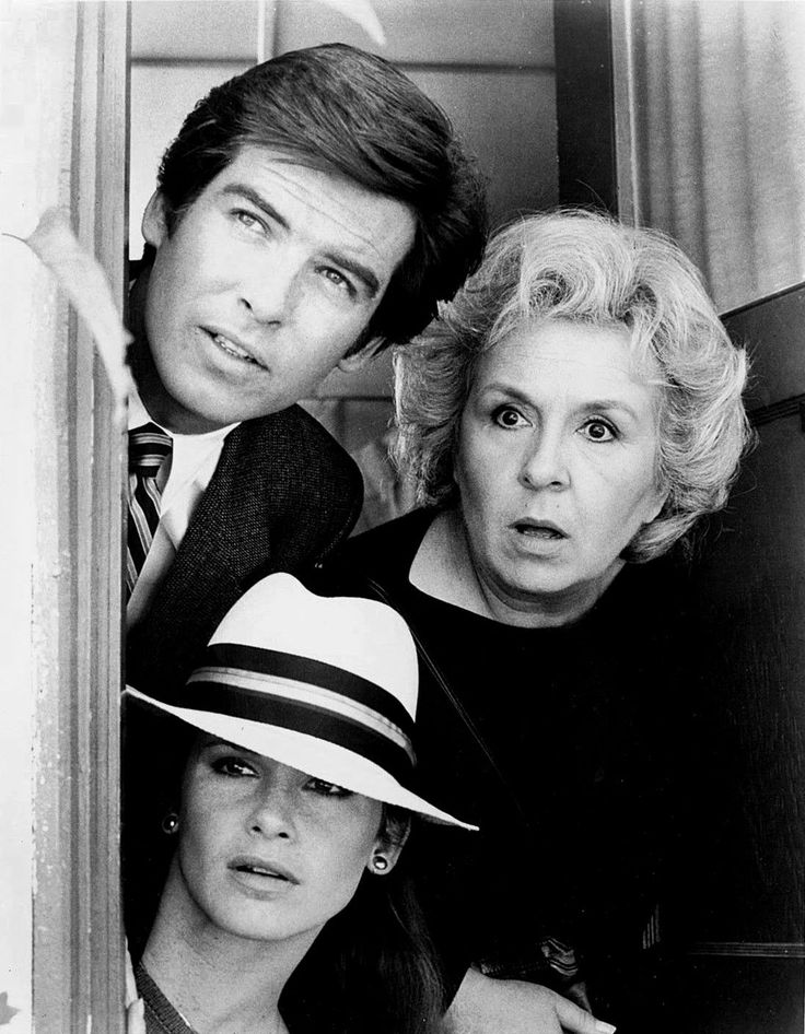 Stephanie Zimbalist as Laura Holt, Pierce Brosnan as Remington Steele and Doris Roberts as Mildred Krebs