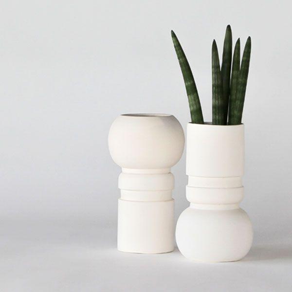BC80 CERAMIC VASE+POT ↔8.0cm ↑20.0cm. White matte ceramic vase+pot. High quality handmade ceramics Designed+Made by Decovery | Essential Details.