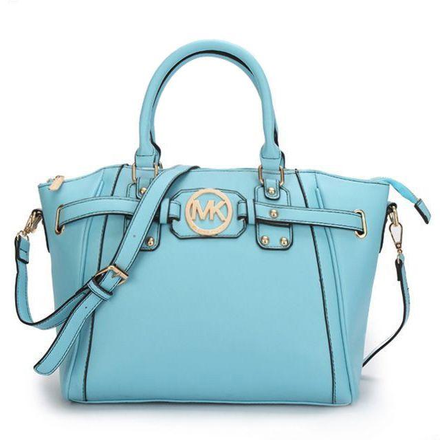 $74.99 Newest Michael Kors Pebbled Leather Large Blue Satchels have Arrived! Pretty bag!