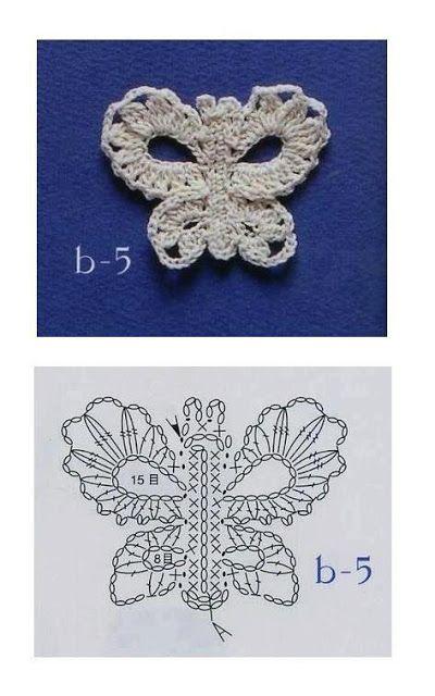 }}{{ ♥LCA♥ with diagram ----- Solo esquemas y diseños de crochet: MARIPOSAS APLIQUES