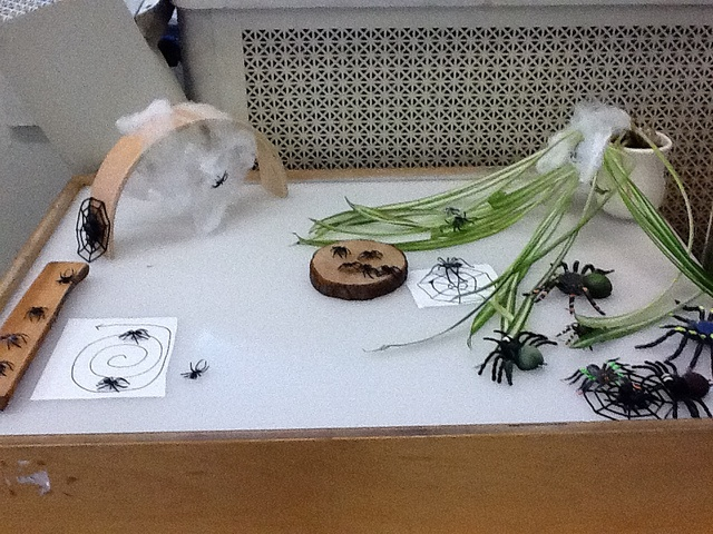 Spiders on the light table-also children added their own paper webs..and books about spiders next to the light table...