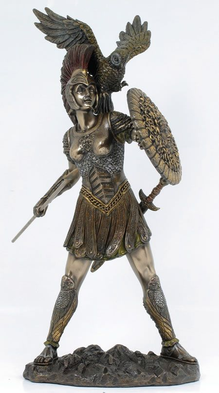 "Athena Goddess of Wisdom and patron of architects and sculptors. She was born fully formed from Zeus"" forehead. She was a warrior goddess, and is often depicted with a spear and shield."