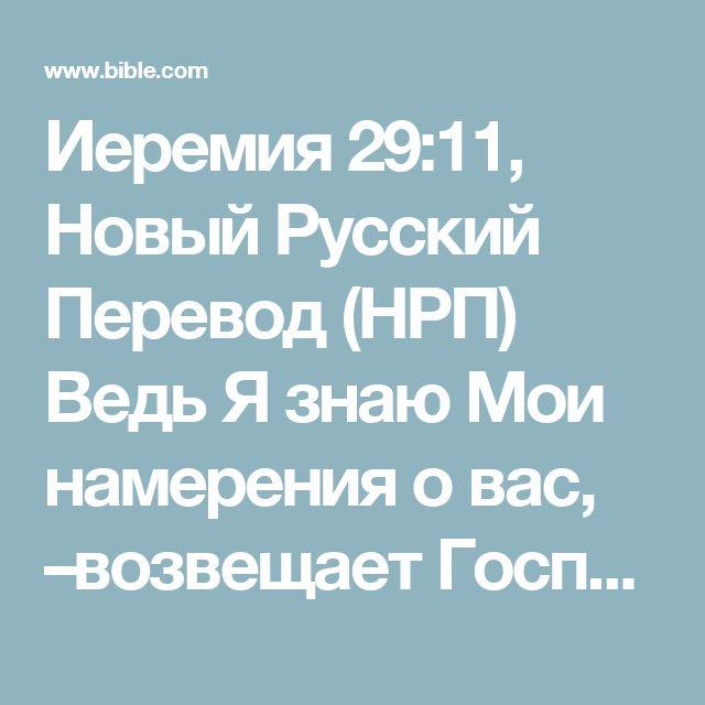 Иеремия 29:11, Новый Русский Перевод (НРП) Ведь Я знаю Мои намерения о вас, –возвещает Господь, –намерения принести вам благополучие, а не беду, даровать вам будущее и надежду.