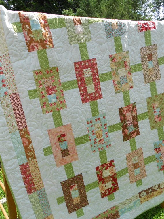 Quilt Pattern : Inwood Garden Jelly Roll Quilt Pattern - Throw or Twin Coverlet size - 59 x 75 inches Hardcopy Version