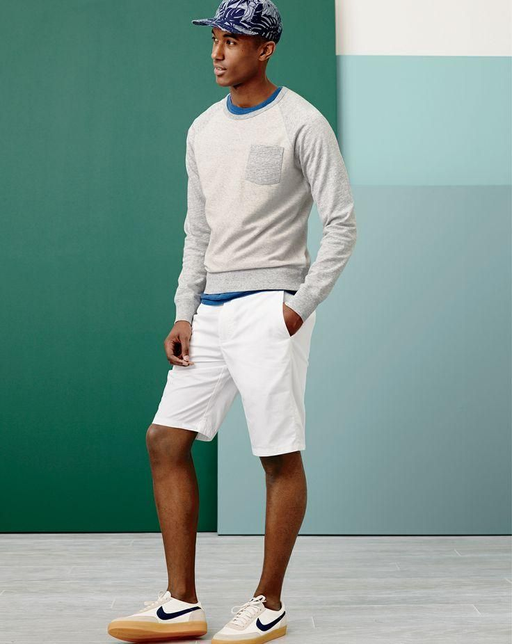 MAY '14 Style Guide: J.Crew lightweight colorblock fleece and lightweight chino club shorts.