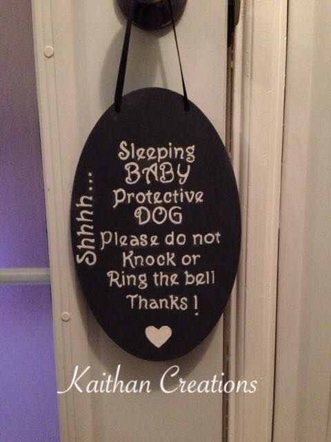Do not ring the doorbell protective dog plaque by Kaithan Creations.  Baby is sleeping and dog will bark, this plaque is the perfect accessory to your front door.  Can be customized to your colors.  Visit my Facebook page for more options. www.facebook.com/kaithancreations