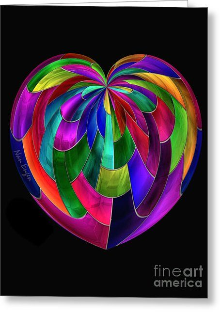Stained Glass Heart Greeting Card by Nan Engen