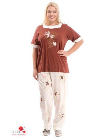 Пижама Klingel, цвет коричневый/белыйПижамы, ночные рубашки