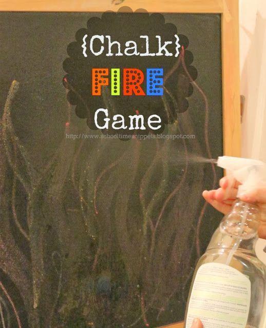 Chalk Fire Game -- great fun way to boost fine motor skills!