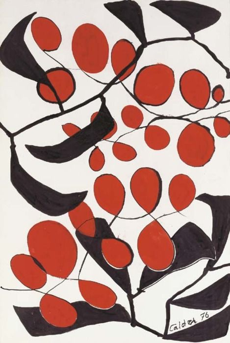 Untitled gouache and ink on paper by Alexander Calder (1976)