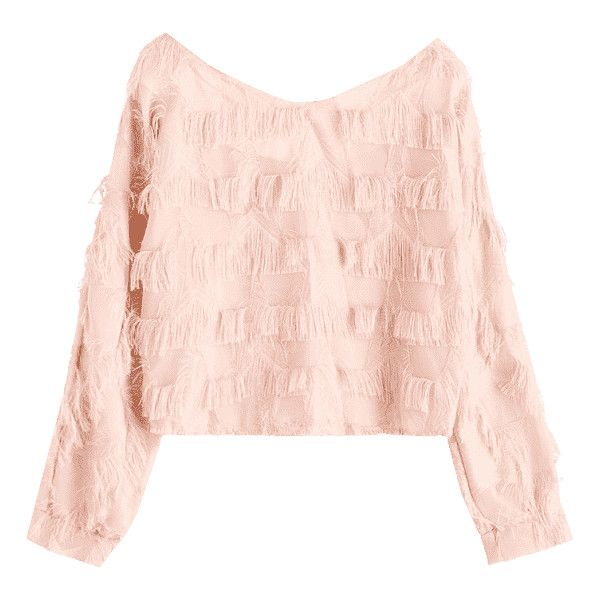 Cropped Fringes Blouse Pinkbeige ($18) ❤ liked on Polyvore featuring tops, blouses, pink crop top, fringe tops, fringe blouse, pink blouse and crop top