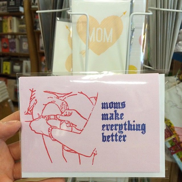 Moms are the best! And Mother's Day is next week, so don't forget to buy your mom a card! The world would literally not even exist without all the work moms do so you can at least make sure your mom knows how much you love her. Come by the store and pick up a rad card. 💐 #welovemoms #nodads #mothersday #teammoms #greenapplebooks