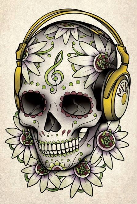 Sugar skull. Without the headphones for a tattoo.