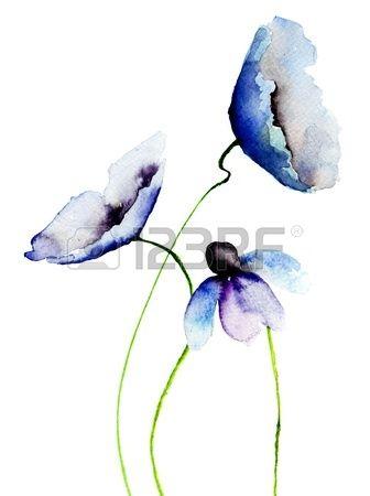 Gyönyörű kék virágok, Akvarell Stock fotó