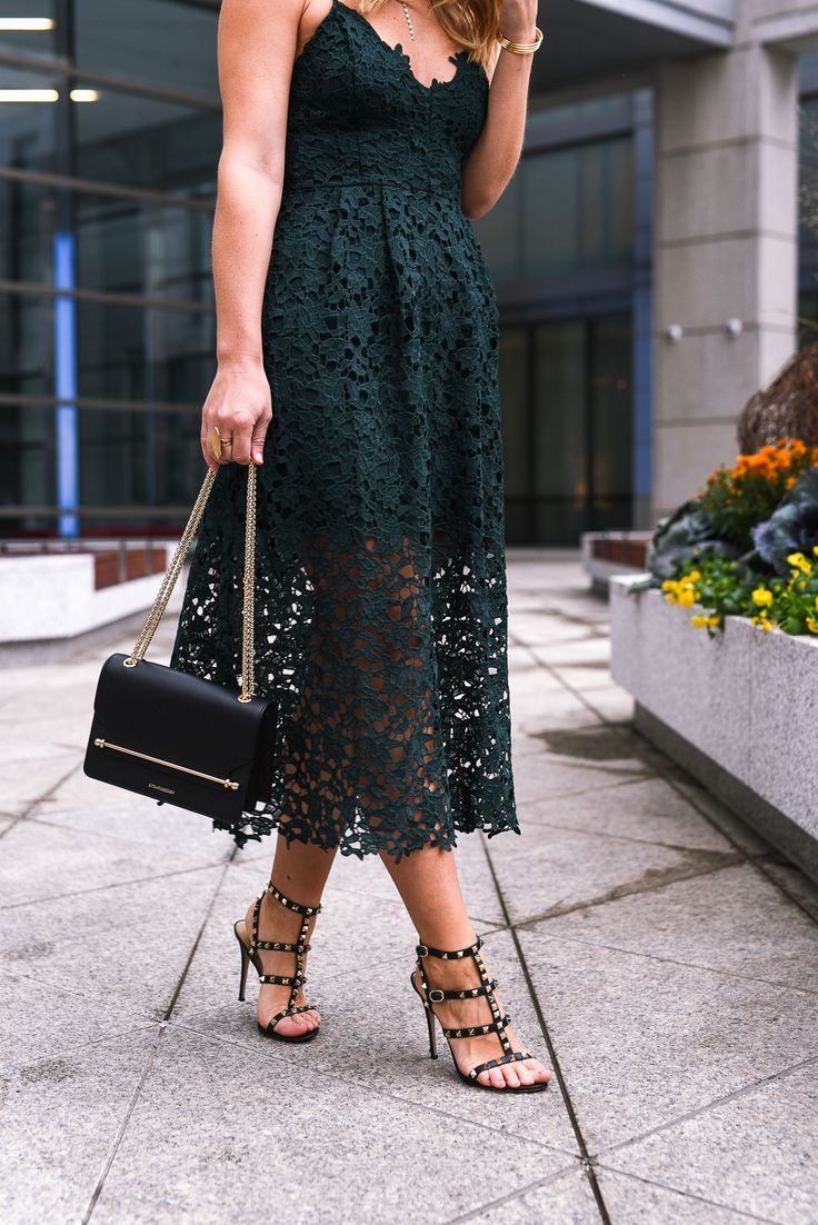 Black leather rockstud Valentino sandals | Holiday Party Dress Guide | What to wear to a holiday party | Visions of Vogue. #holidaydresses #holidayfashion #partydress #valentino