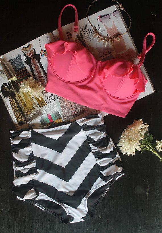 Handmade Retro Swimwear Swimsuit Bath Suit High Waist Pin Up Girl Bikini Crop Bra Pink Small 1970's