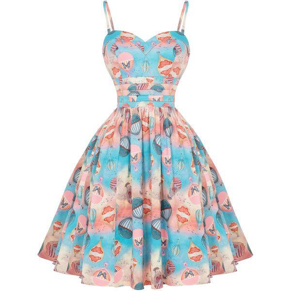 Voodoo Vixen Aria 1950s Dress Dresses (£55) ❤ liked on Polyvore featuring dresses, vintage cocktail dresses, vintage prom dresses, prom dresses, gothic lolita dress and gothic prom dresses