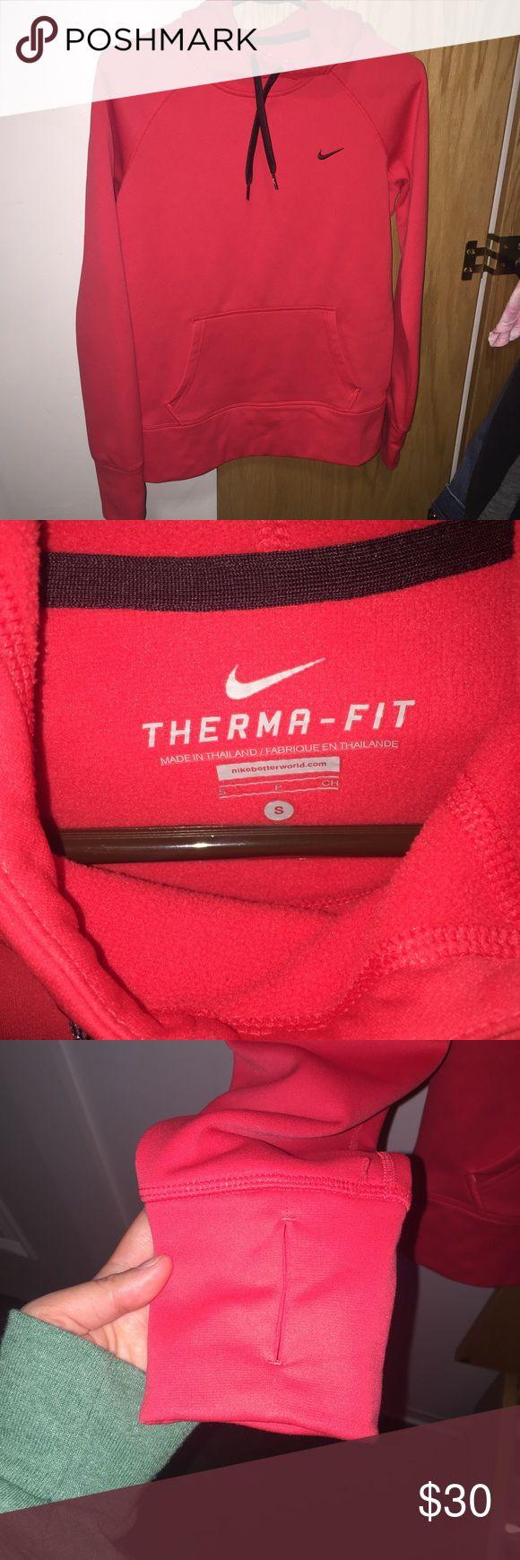 ❄️SOLD❄️Coral Nike Fleece Hoodie Nike. Therma Fit Hoodie. Fleece Inside. Super Warm. Worn Twice. Lowest Will Be $25 Nike Jackets & Coats