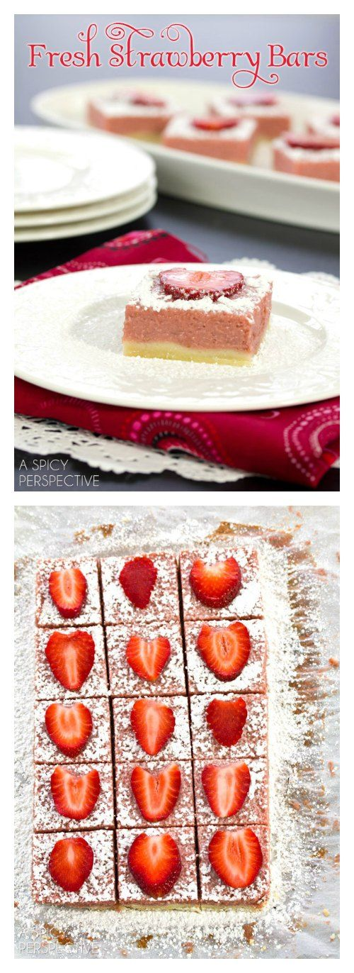 Easy Fresh Strawberry Bars by aspicyperspective #Bars #Strawberry