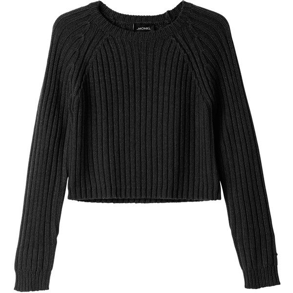 Monki Bo knitted top (397.570 IDR) ❤ liked on Polyvore featuring tops, sweaters, shirts, jumpers, black magic, monki, chunky knit sweater, black cropped sweater, black shirt and black top