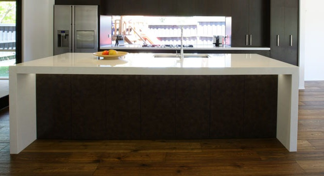 Waterfall stone bench top in a recent kitchen renovation. Rowville, Melbourne.