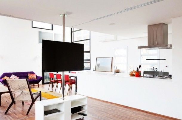 Apartment - Simple And Minimalist TV Stand At Fidalga 727 Residnece Living Room With Open Storage Stand On Wooden Floor Behind The Chair: Fi...