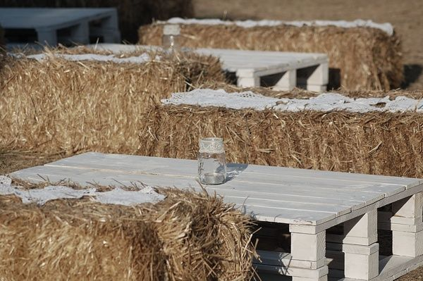 NATURAL PRE WEDDING DECOR    Straw bale seats decorated with diy lace runners  diy palet tables with mason jar lace candles.