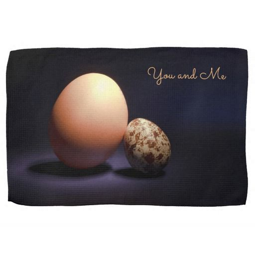 Chicken and quail eggs in love. Text «You and Me». Hand Towel #handtowel #kitchentowel #towel #chicken #quail #eggs #love #couple #lovers #beige #darkblue #stilllife #photography #darkness #funny #photo #food #kiychen #valentinesday #youandme #customized #personalized #graphics #artwork #buy #sale #giftideas #zazzle #discount #deals #gifts #shopping