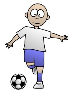 Funny soccer player enjoying a nice game. Can you draw this cartoon character?