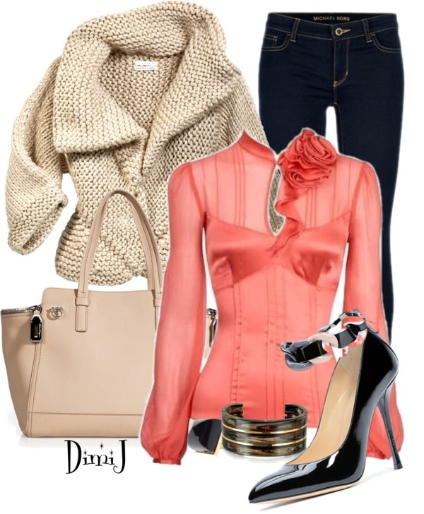 """Coral Blouse"" by dimij on Polyvore"
