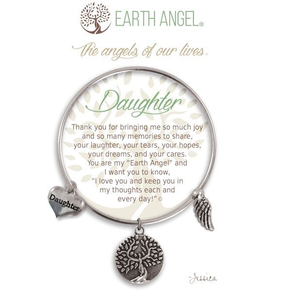 """Daughter Earth Angel Bangle - Silver - Earth Angels is a beautiful line of expandable charm bracelets created to thank, recognize and celebrate all the """"Earth Angels"""" who have positively impacted our lives. Each bangle comes in an gift box making it the perfect gift for your """"angel""""."""