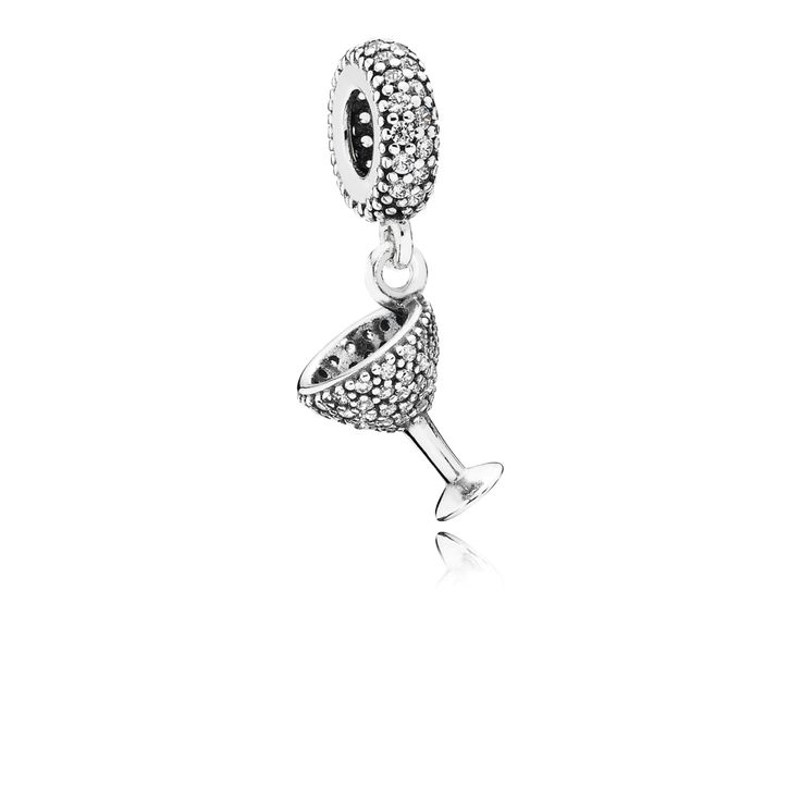 PANDORA | Cocktail glass silver dangle with cubic zirconia