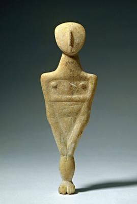3000-2000 BCE           Description This figure stands with feet together. It is unclear whether the arms, suggested by a raising of the material, bend at the elbow and embrace the chest or whether they continue downwards to the knees.