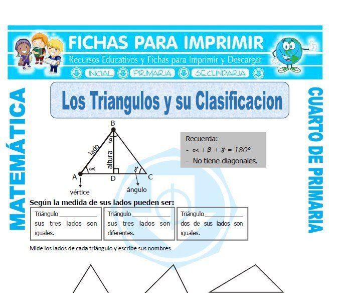 Los Triangulos Y Su Clasificacion Para Cuarto De Primaria Clasificacion De Triangulos Matemáticas De Cuarto Primaria Matematicas