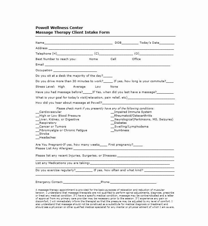 Unique Client Intake Form Template In 2020 Massage Intake Forms