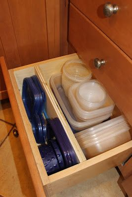 Insert a divider into a deep drawer to divide lids from food storage containers to make everything easier to find!