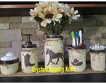 Western bathroom storage set, cowboy hat, boot, and horse. Cream and brown set, soap jar, vase, toothbrush holder, q-tip jar, mason jars