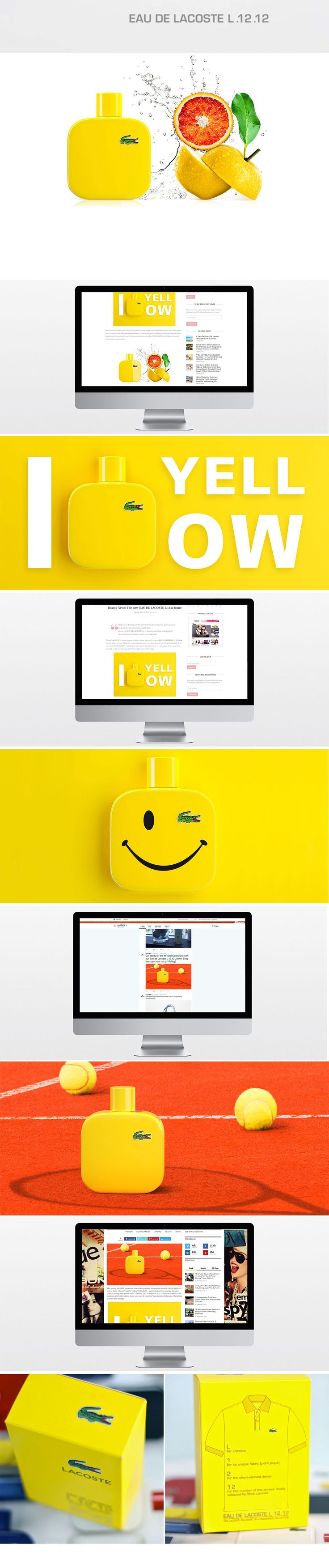 Designing Social Media Assets for Lacoste L.12.12 Jaune – #fragrance, #lacoste #yellow #creative #design #packshoot #photoshop #photography #graphicdesign #cerativedirection