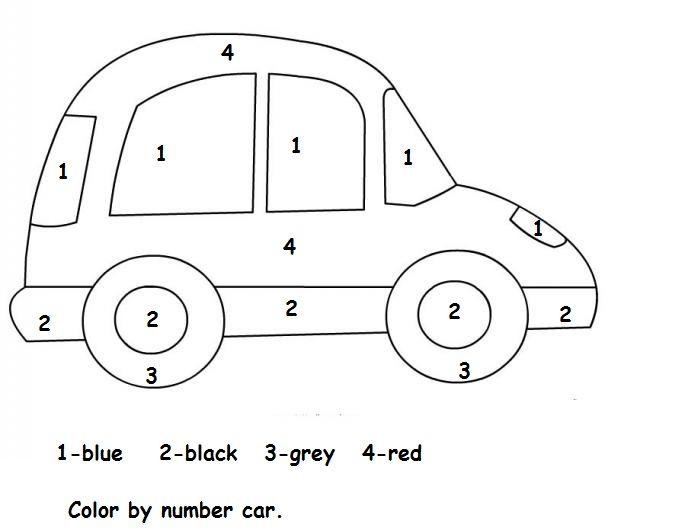 Color By Number Car Worksheet