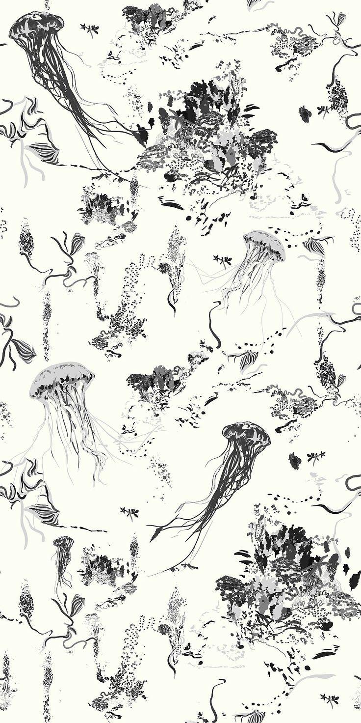 17 Patterns Jellyfish Ivory Wallpaper main image