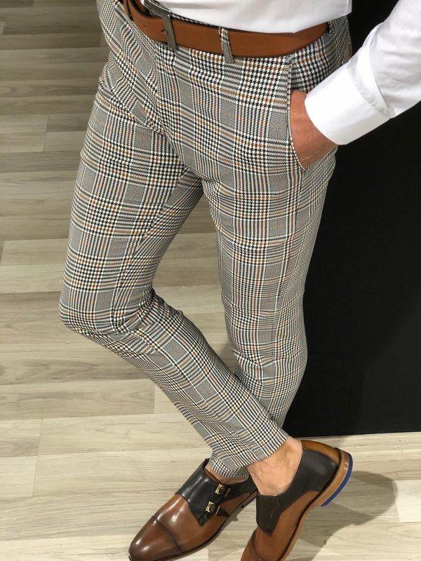 New Men S Casual Plaid Solid Color Cropped Pants Menilyshop Com Slim Fit Trousers Men Pants Outfit Men Mens Plaid Pants