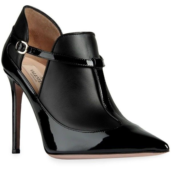 Valentino Bootie ($585) ❤ liked on Polyvore featuring shoes, boots, ankle booties, heels, booties, valentino, black, mary-janes, high heel mary janes and high heel bootie