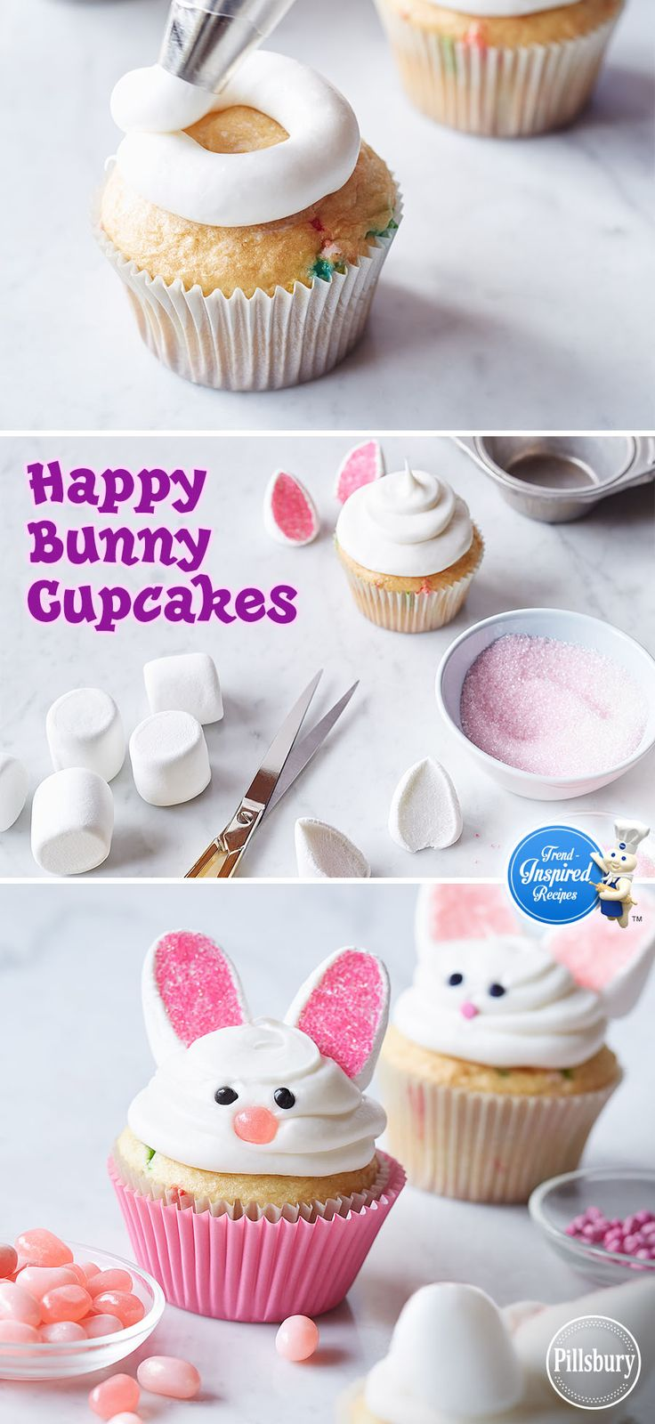 With marshmallows, jellybeans and pink decorator sugar, you can turn plain white cupcakes into Happy Bunny Cupcakes! See how easy it is to make these super cute Easter treats!
