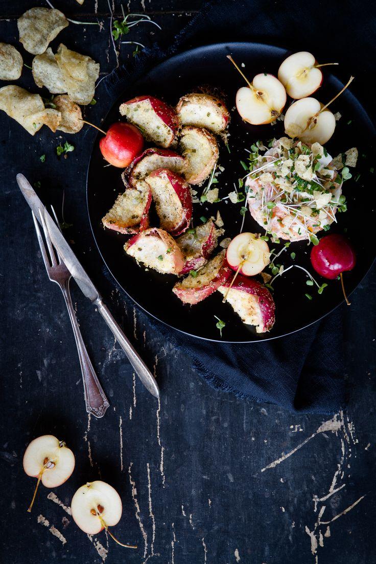 Tartare d'automne (saumon, chips & frites de pommes)