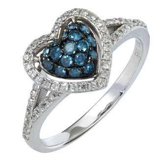 0.53 Carat Blue Diamond 14K White Gold Women Rings 2.28g: Ring Size: 7 (Sizable)