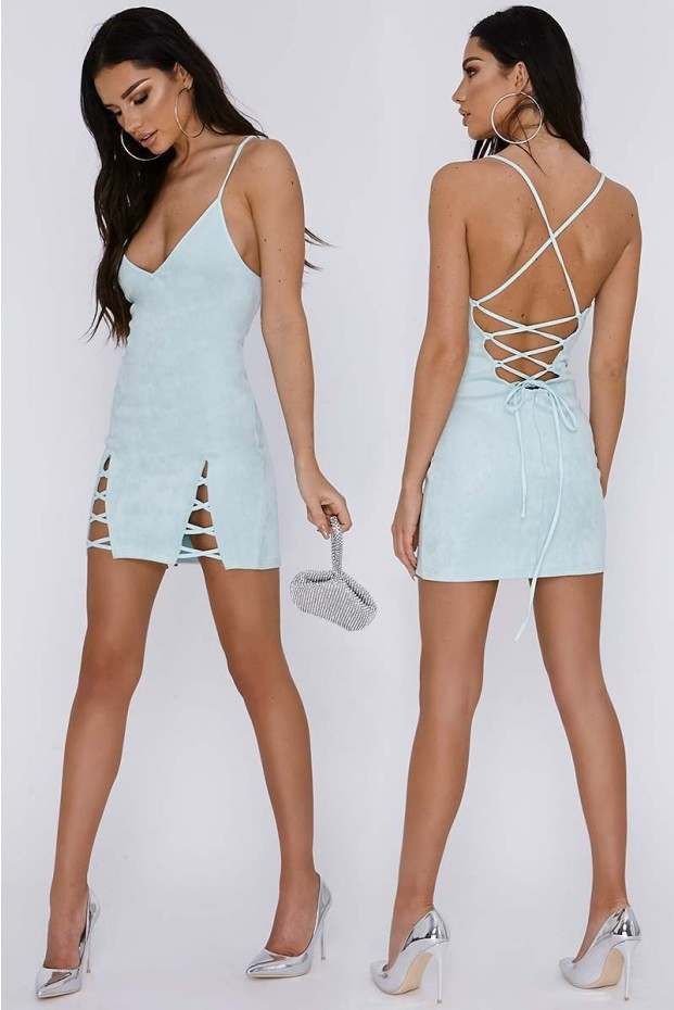 5a2527c146366 Sarah Ashcroft Mint V Front Lace Up Detail Faux Suede Slip Dress | In The  Style Australia